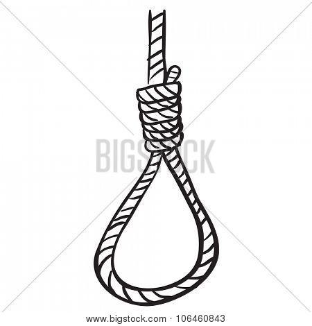 simple black and white hangman's noose cartoon