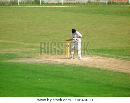 Cricketer Facing Fast Bowl