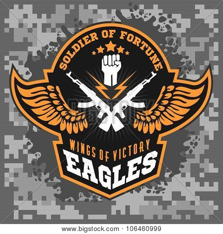 Eagle wings - military label, badge and design elements