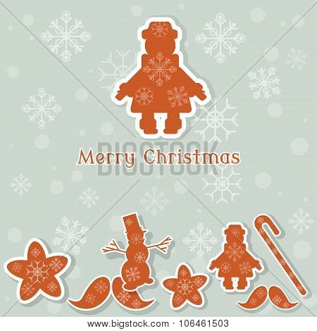 Merry Christmas Christmas Toys Snowman Elf Stars Snowflakes Cookies Vintage Postcard Retro Style