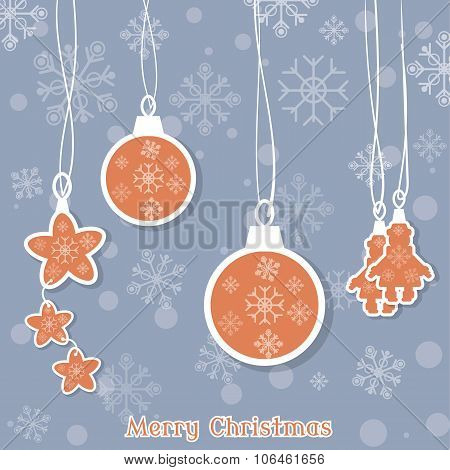 Merry Christmas Beautiful Christmas Balls And Toys On The Christmas Tree Vector Vintage Illustration
