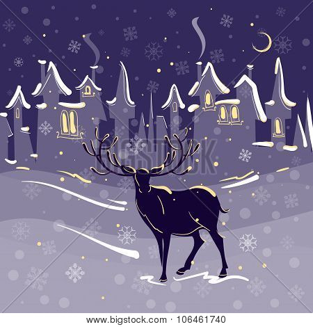 Beautiful Deer Christmas Night Snow Town Vector Illustration