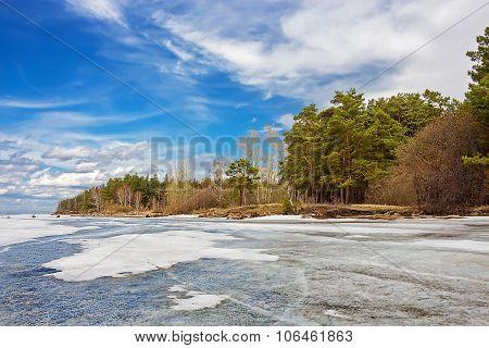 Spring landscape on the river
