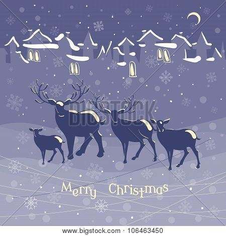 Christmas Reindeer Animal Family Christmas Night Snow Town Vintage Vector Illustration