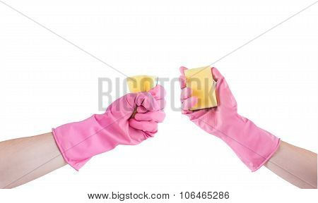 Hand In Pink Rubber Glove With Sponge Isolated On White
