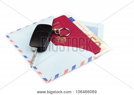 Airmail Envelope With A Travel Passport And Money