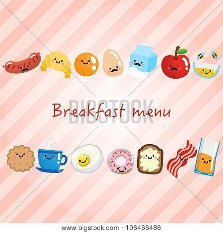 Breakfast Menu With Smiling Breakfast Food