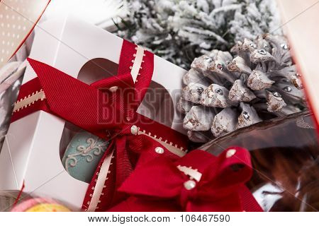 Christmas Present In Basket With  Pastry, Wine, Decor