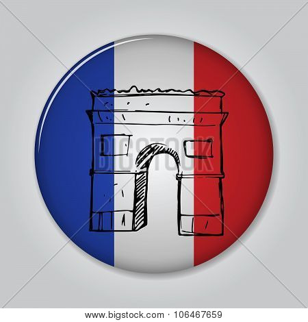 Badge With Triumphal Arch In Sketch Style.