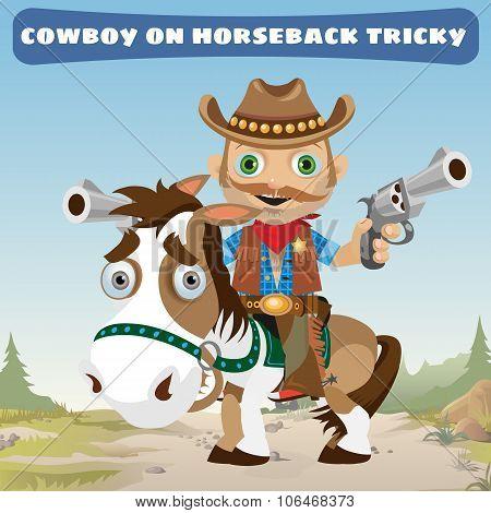 Cowboy rider on horseback tricky on a Wild West