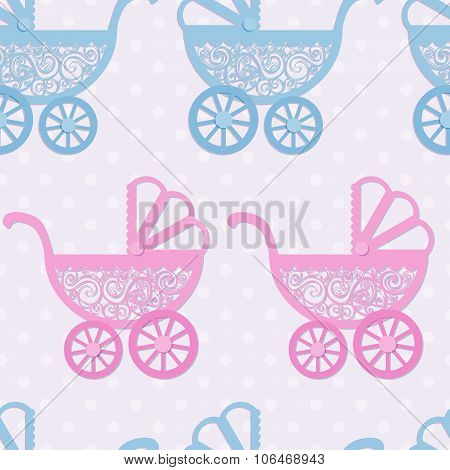 Seamless Pattern With Paper Baby Prams.