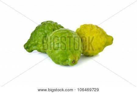 Whole Fresh Bergamot Or Leech Lime On White Background