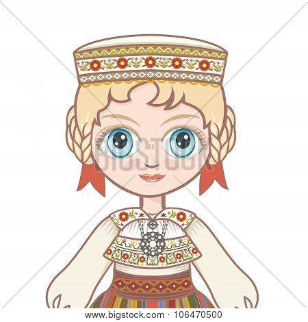 The girl in Estonian dress. Portrait, avatar