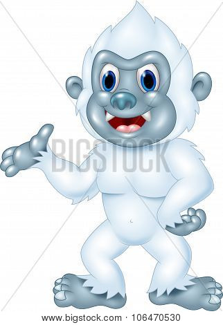 Cartoon Yeti presenting isolated on white background