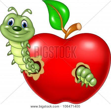 Cartoon caterpillars eat the red apple