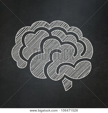 Medicine concept: Brain on chalkboard background