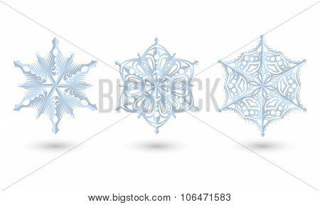 Set Of Diferent Paper Snowfakes.