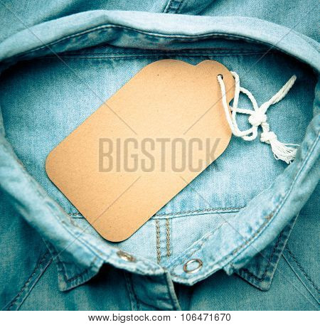 Denim Texture With Paper Jeans Label