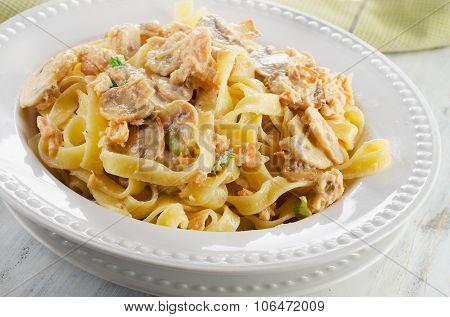 Pasta With Mushrooms And Cream Sauce.