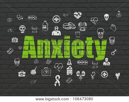 Medicine concept: Anxiety on wall background