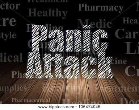 Medicine concept: Panic Attack in grunge dark room