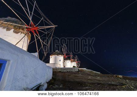 Mykonos Windmills By Night