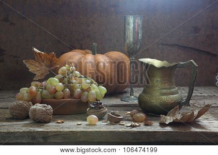 Still-life With White Wine, Walnuts And Grapes