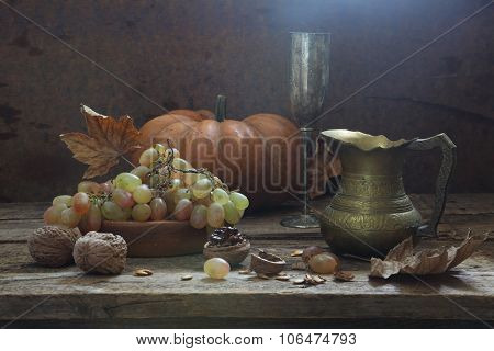 Wine With Grapes And Walnuts
