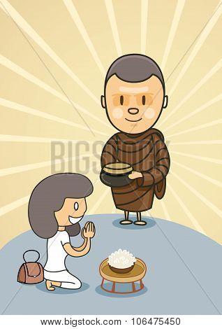 Monk With Bowl Food With Praying Girl