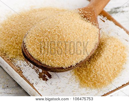 Cane Sugar With Stevia In  Wooden Spoon.
