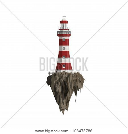 Cartoon red striped Lighthouse on flying Island