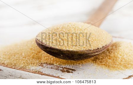 Cane Sugar With Stevia In  Old Wooden Spoon.
