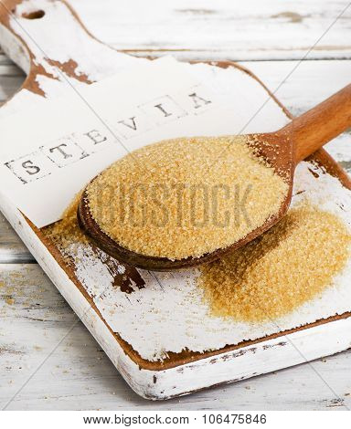 Cane Sugar With Stevia In An Old Spoon.