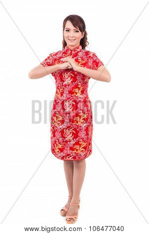 Asian Chinese Girl Greeting In Traditional Chinese , Chinese New Year