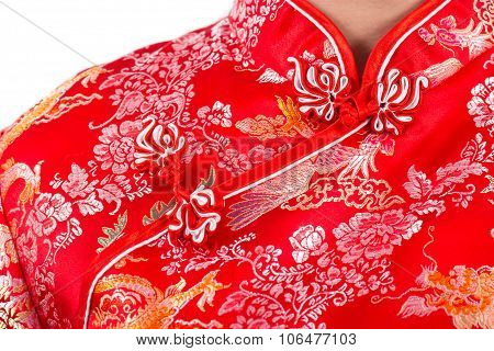 Chinese Woman Red Dress Traditional Cheongsam ,close Up Portrait Uniform, Chinese New Year