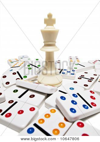 King chess piece with dominos