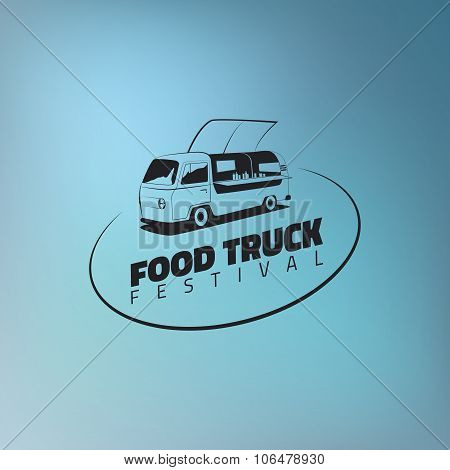 Food Truck Icon On Gradient Blue Background.