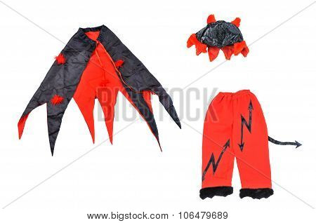 Suit Of Devil On White Background. Devil Carnival Costume.