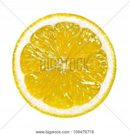 Round Slice Of Lemon Isolated