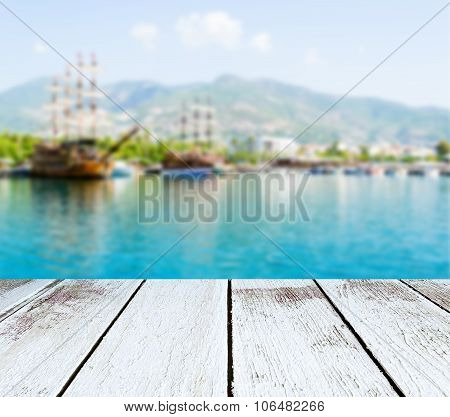 Seascape, Ships And Mountains Blurred, Wooden Plank In Perspective
