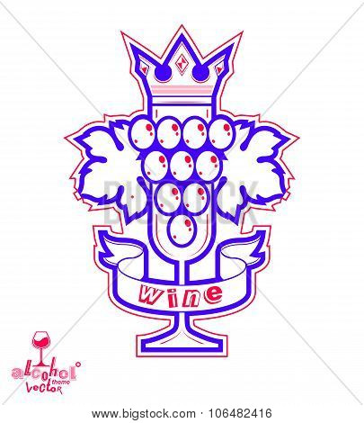 Sparkling Wine Vector Illustration. Stylized Empty Wineglass With Grape Vine And Royal Crown
