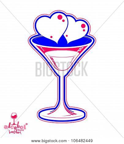 Valentine's Day Festive Illustration, Martini Glass With Two Loving Hearts – Wedding Anniversary Cel