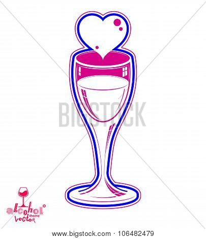 Wineglass Vector 3D Artistic Illustration – Wedding Couple Conceptual Graphic Object. Valentine's Da