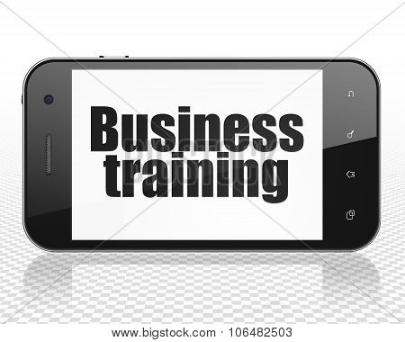 Learning concept: Smartphone with Business Training on display