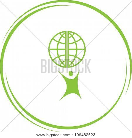 little man with globe. Internet button. Vector icon.