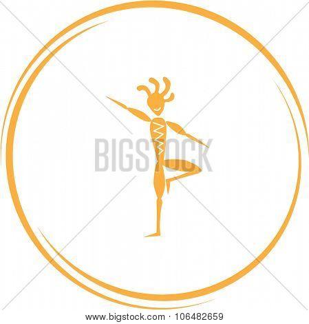 ethnic little man as yogi. Internet button. Vector icon.