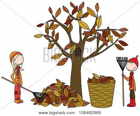 Happy Kids Raking Leaves