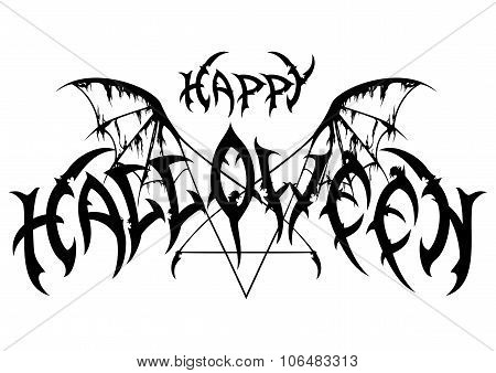 Halloween Emblem In Metal Rock Music Style
