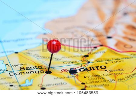 Santo Domingo pinned on a map of America