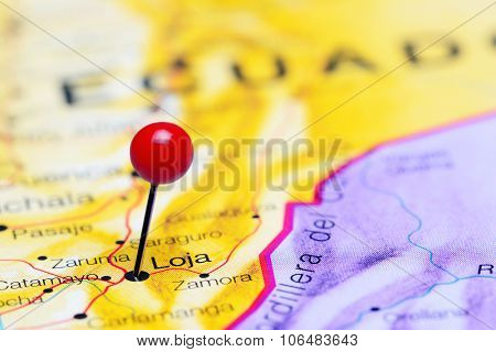 Loja pinned on a map of America